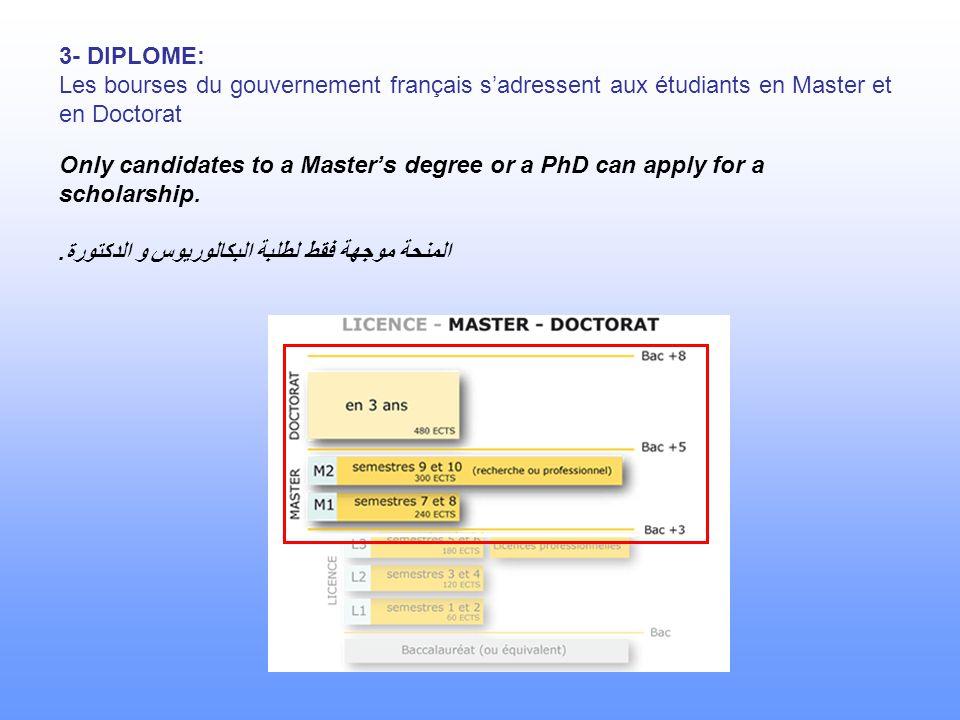 3- DIPLOME: Les bourses du gouvernement français s'adressent aux étudiants en Master et en Doctorat Only candidates to a Master's degree or a PhD can apply for a scholarship.