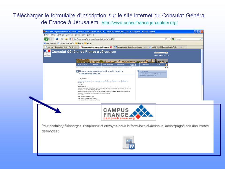 Télécharger le formulaire d'inscription sur le site internet du Consulat Général de France à Jérusalem: http://www.consulfrance-jerusalem.org/ http://www.consulfrance-jerusalem.org/