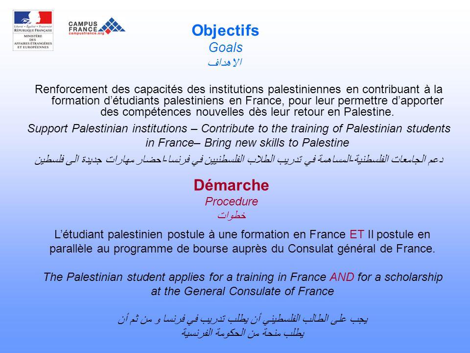 Objectifs Goals الاهداف Renforcement des capacités des institutions palestiniennes en contribuant à la formation d'étudiants palestiniens en France, pour leur permettre d'apporter des compétences nouvelles dès leur retour en Palestine.