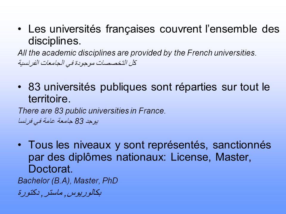 Les universités françaises couvrent l'ensemble des disciplines.