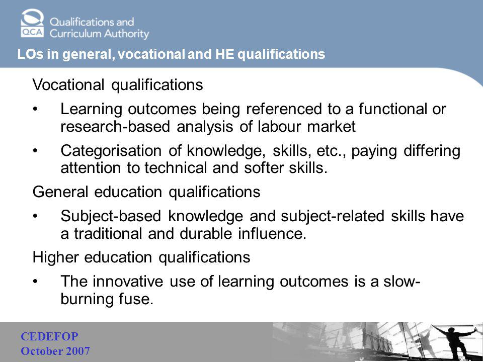 Malaysia LOs in general, vocational and HE qualifications Vocational qualifications Learning outcomes being referenced to a functional or research-bas