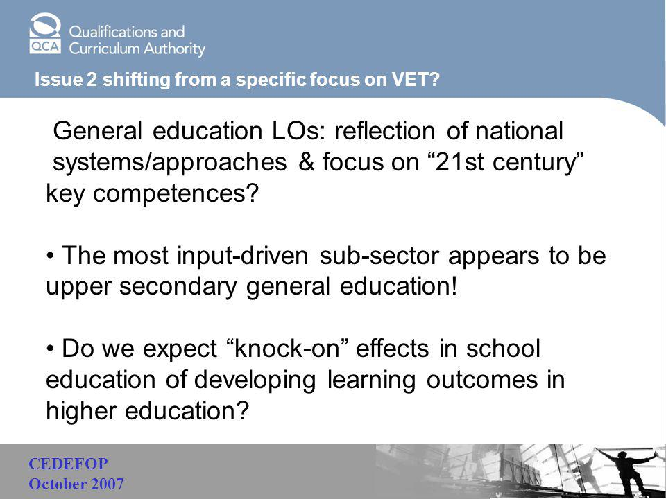 "Malaysia Issue 2 shifting from a specific focus on VET? General education LOs: reflection of national systems/approaches & focus on ""21st century"" key"