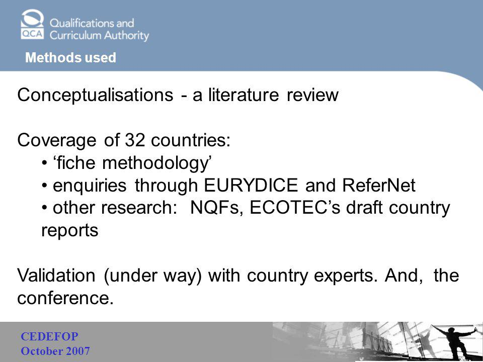 Malaysia Methods used Conceptualisations - a literature review Coverage of 32 countries: 'fiche methodology' enquiries through EURYDICE and ReferNet o