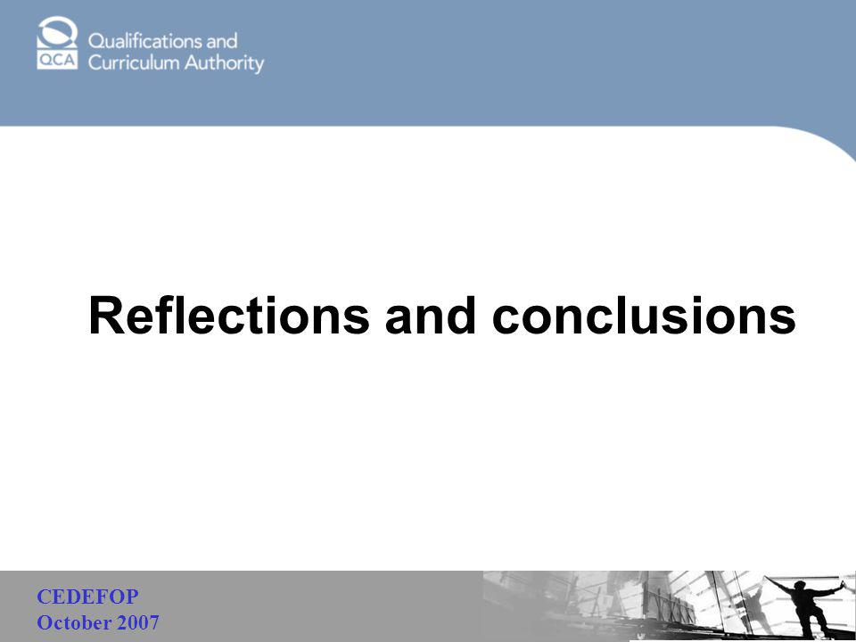 Malaysia Reflections and conclusions CEDEFOP October 2007