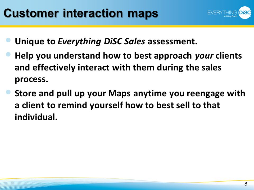 Customer interaction maps Unique to Everything DiSC Sales assessment. Help you understand how to best approach your clients and effectively interact w