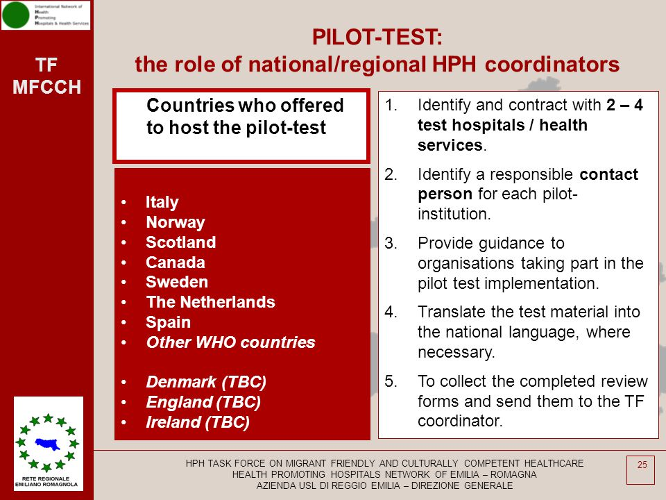 TF MFCCH 25 PILOT-TEST: the role of national/regional HPH coordinators Countries who offered to host the pilot-test Italy Norway Scotland Canada Swede