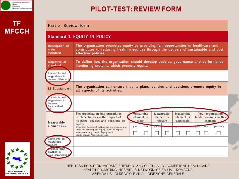 TF MFCCH PILOT-TEST: REVIEW FORM HPH TASK FORCE ON MIGRANT FRIENDLY AND CULTURALLY COMPETENT HEALTHCARE HEALTH PROMOTING HOSPITALS NETWORK OF EMILIA –