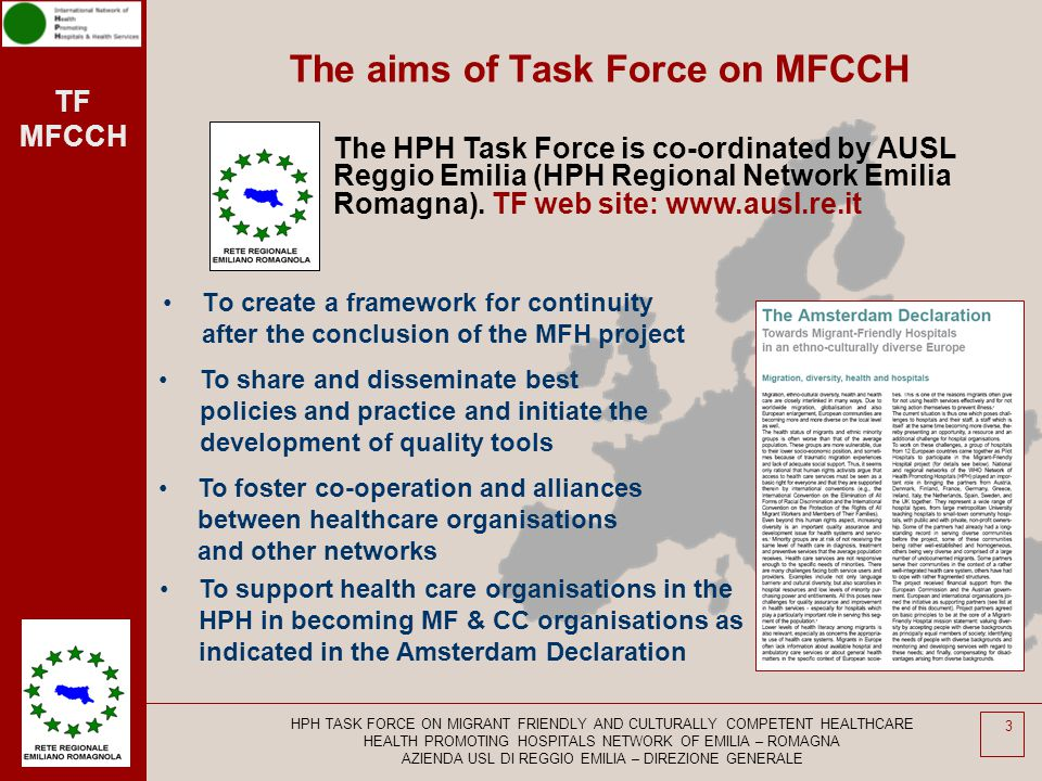 TF MFCCH HPH TASK FORCE ON MIGRANT FRIENDLY AND CULTURALLY COMPETENT HEALTHCARE HEALTH PROMOTING HOSPITALS NETWORK OF EMILIA – ROMAGNA AZIENDA USL DI REGGIO EMILIA – DIREZIONE GENERALE 14 2 2 Standard Equitable Access and Utilisation 4 Sub-standards 1.The organisation ensures that accessibility and availability of health services are equitable.
