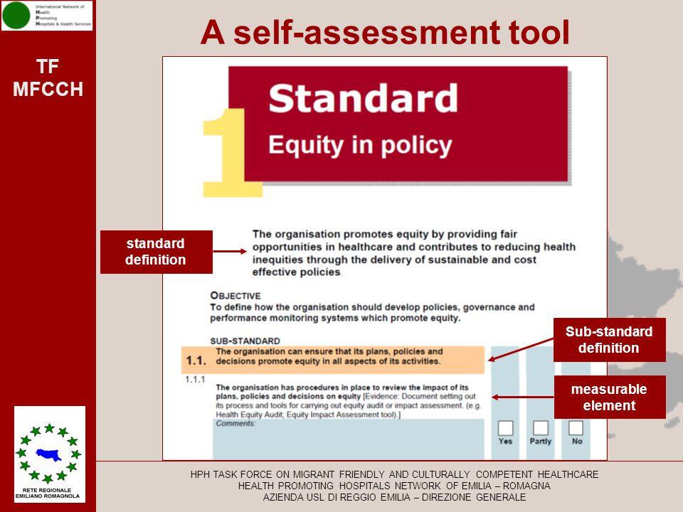 TF MFCCH 5 Main standards 18Sub standards 51 Measurable elements HPH TASK FORCE ON MIGRANT FRIENDLY AND CULTURALLY COMPETENT HEALTHCARE HEALTH PROMOTING HOSPITALS NETWORK OF EMILIA – ROMAGNA AZIENDA USL DI REGGIO EMILIA – DIREZIONE GENERALE