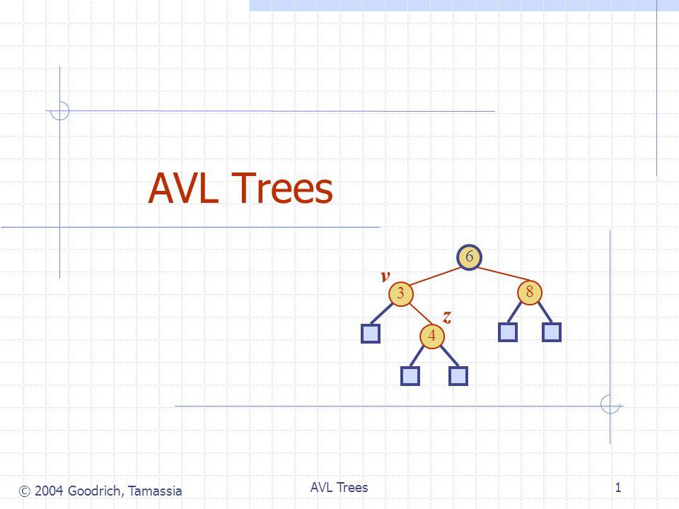 © 2004 Goodrich, Tamassia AVL Trees1 6 3 8 4 v z