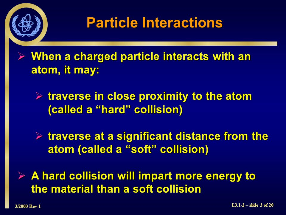 3/2003 Rev 1 I.3.1-2 – slide 3 of 20  When a charged particle interacts with an atom, it may:  traverse in close proximity to the atom (called a hard collision)  traverse at a significant distance from the atom (called a soft collision)  A hard collision will impart more energy to the material than a soft collision Particle Interactions
