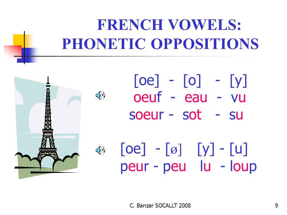 C. Banzar SOCALLT 20089 FRENCH VOWELS: PHONETIC OPPOSITIONS [oe] - [o] - [y] oeuf - eau - vu soeur - sot - su [oe] - [ ø] [y] - [u] peur - peu lu - lo