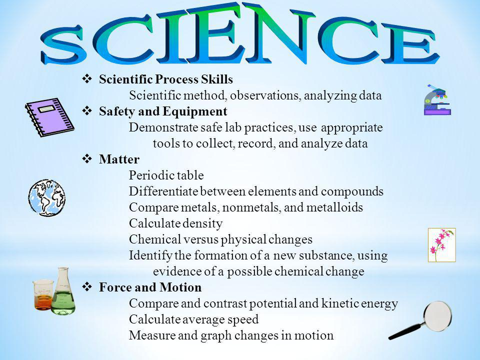  Scientific Process Skills Scientific method, observations, analyzing data  Safety and Equipment Demonstrate safe lab practices, use appropriate tools to collect, record, and analyze data  Matter Periodic table Differentiate between elements and compounds Compare metals, nonmetals, and metalloids Calculate density Chemical versus physical changes Identify the formation of a new substance, using evidence of a possible chemical change  Force and Motion Compare and contrast potential and kinetic energy Calculate average speed Measure and graph changes in motion