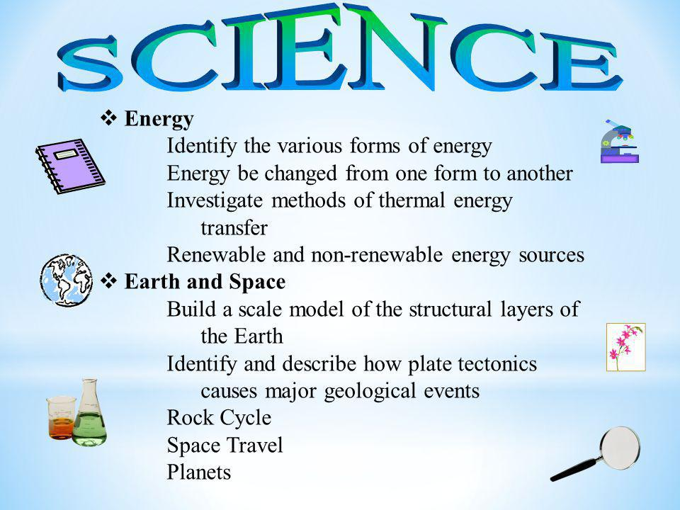  Energy Identify the various forms of energy Energy be changed from one form to another Investigate methods of thermal energy transfer Renewable and non-renewable energy sources  Earth and Space Build a scale model of the structural layers of the Earth Identify and describe how plate tectonics causes major geological events Rock Cycle Space Travel Planets