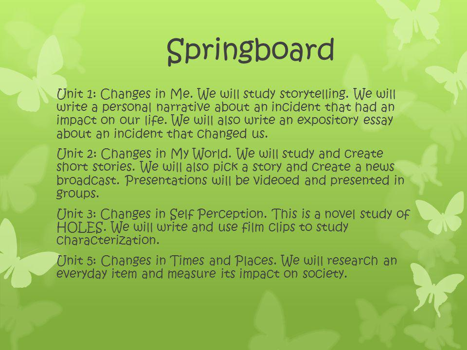 Springboard Unit 1: Changes in Me. We will study storytelling.