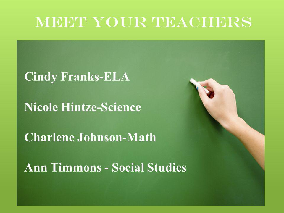 Meet Your Teachers Cindy Franks-ELA Nicole Hintze-Science Charlene Johnson-Math Ann Timmons - Social Studies