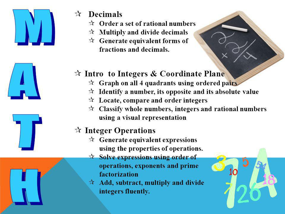  Fraction Operations  Find the prime factorization of a number and use exponents  Extend division problems to include a/b  Multiply and divide fractions, including whole numbers  Determine whether a quantity is increased or decreased when multiplied by a fraction greater than one and less than one  Intro to Algebra  Distinguish between expressions and equations  Determine if 2 expressions are equivalent  Determine a function for an input/output table  Represent a given situation using verbal descriptions, tables, graphs and equations in the form of y = kx or y = x + b