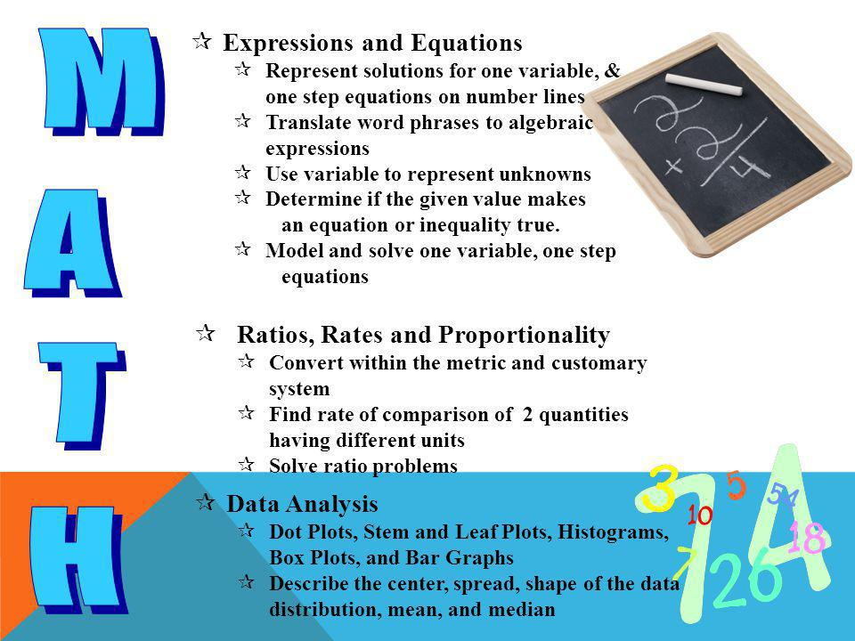  Expressions and Equations  Represent solutions for one variable, & one step equations on number lines  Translate word phrases to algebraic expressions  Use variable to represent unknowns  Determine if the given value makes an equation or inequality true.