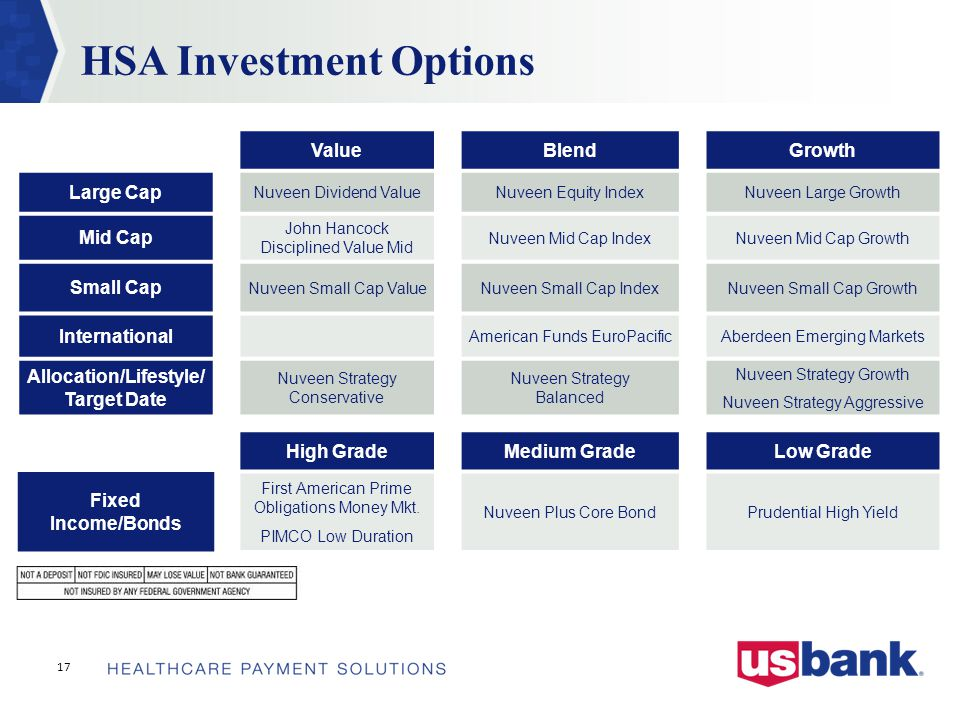 HSA Investment Options ValueBlendGrowth Large Cap Nuveen Dividend ValueNuveen Equity IndexNuveen Large Growth Mid Cap John Hancock Disciplined Value Mid Nuveen Mid Cap IndexNuveen Mid Cap Growth Small Cap Nuveen Small Cap ValueNuveen Small Cap IndexNuveen Small Cap Growth International American Funds EuroPacificAberdeen Emerging Markets Allocation/Lifestyle/ Target Date Nuveen Strategy Conservative Nuveen Strategy Balanced Nuveen Strategy Growth Nuveen Strategy Aggressive High GradeMedium GradeLow Grade Fixed Income/Bonds First American Prime Obligations Money Mkt.