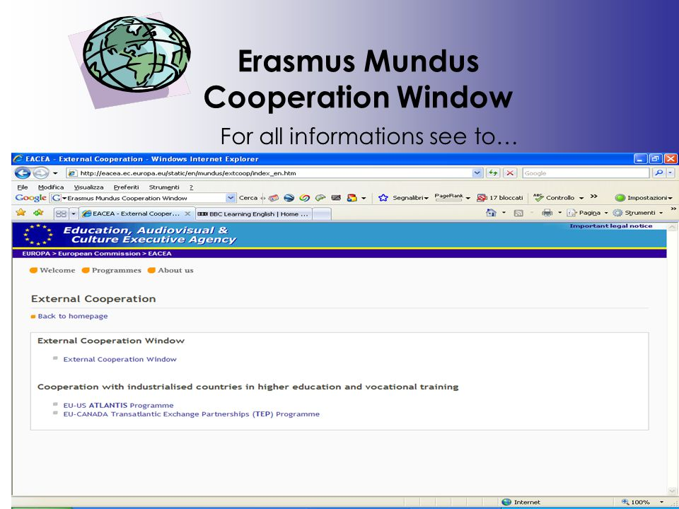 Erasmus Mundus Cooperation Window For all informations see to…