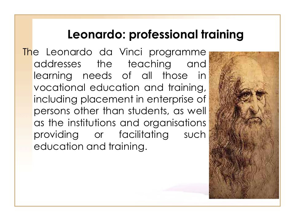 Leonardo: professional training The Leonardo da Vinci programme addresses the teaching and learning needs of all those in vocational education and tra