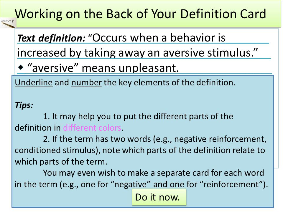 Working on the Back of Your Definition Card Underline and number the key elements of the definition.