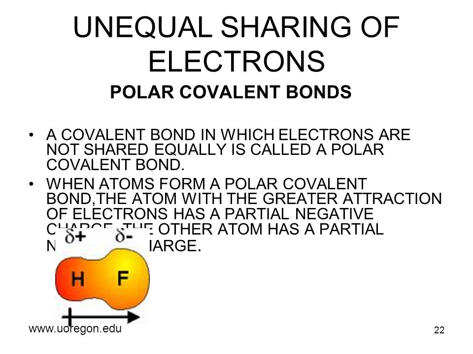 22 UNEQUAL SHARING OF ELECTRONS POLAR COVALENT BONDS A COVALENT BOND IN WHICH ELECTRONS ARE NOT SHARED EQUALLY IS CALLED A POLAR COVALENT BOND. WHEN A