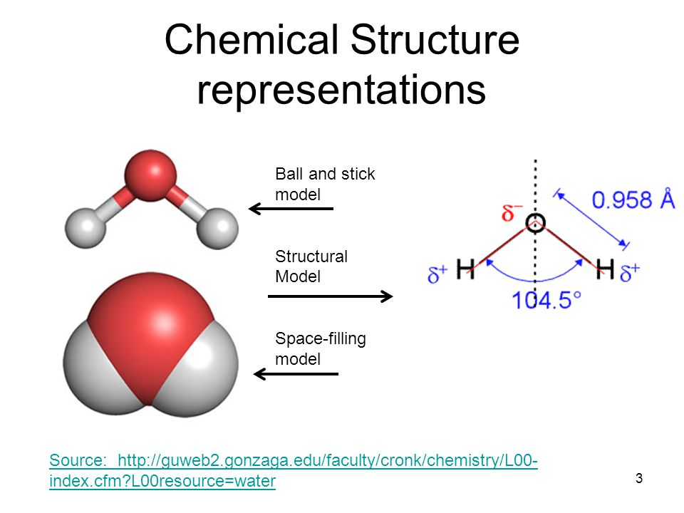 Chemical Structure representations 3 Ball and stick model Structural Model Space-filling model Source: http://guweb2.gonzaga.edu/faculty/cronk/chemistry/L00- index.cfm L00resource=water