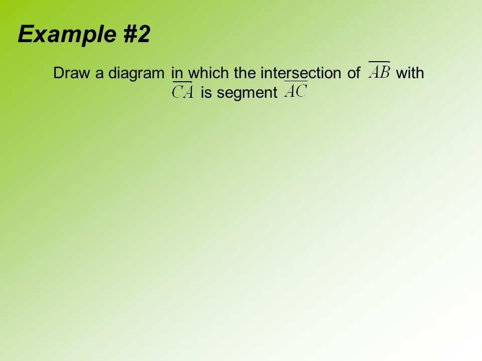 Draw a diagram in which the intersection of with is segment Example #2