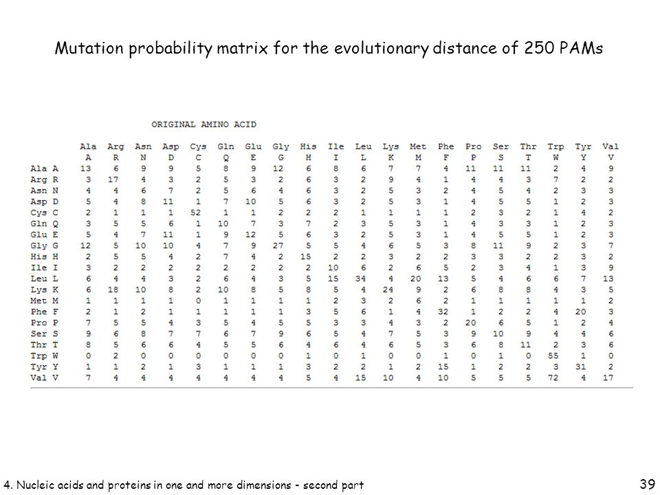 Mutation probability matrix for the evolutionary distance of 250 PAMs 39 4.