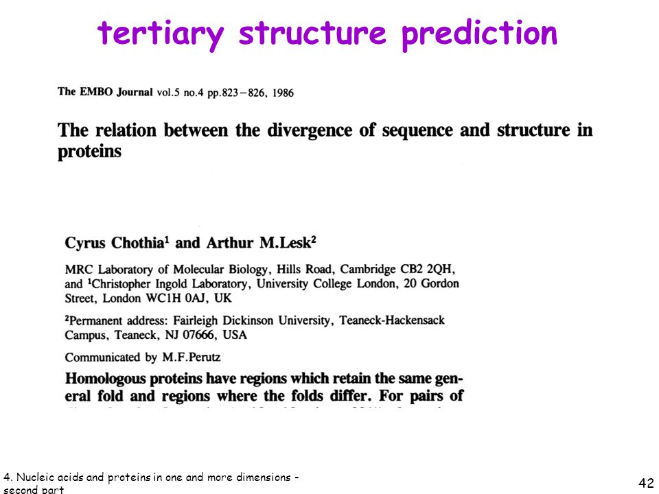 tertiary structure prediction 42 4.
