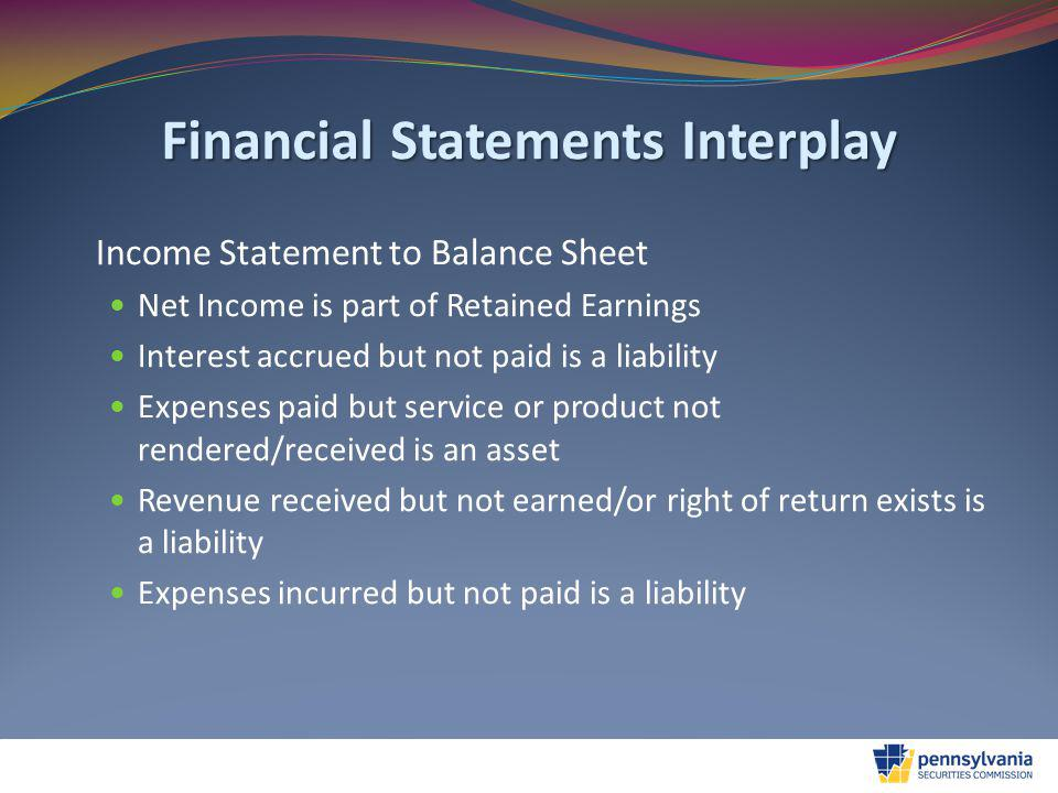 Financial Statements Interplay Income Statement to Balance Sheet Net Income is part of Retained Earnings Interest accrued but not paid is a liability Expenses paid but service or product not rendered/received is an asset Revenue received but not earned/or right of return exists is a liability Expenses incurred but not paid is a liability