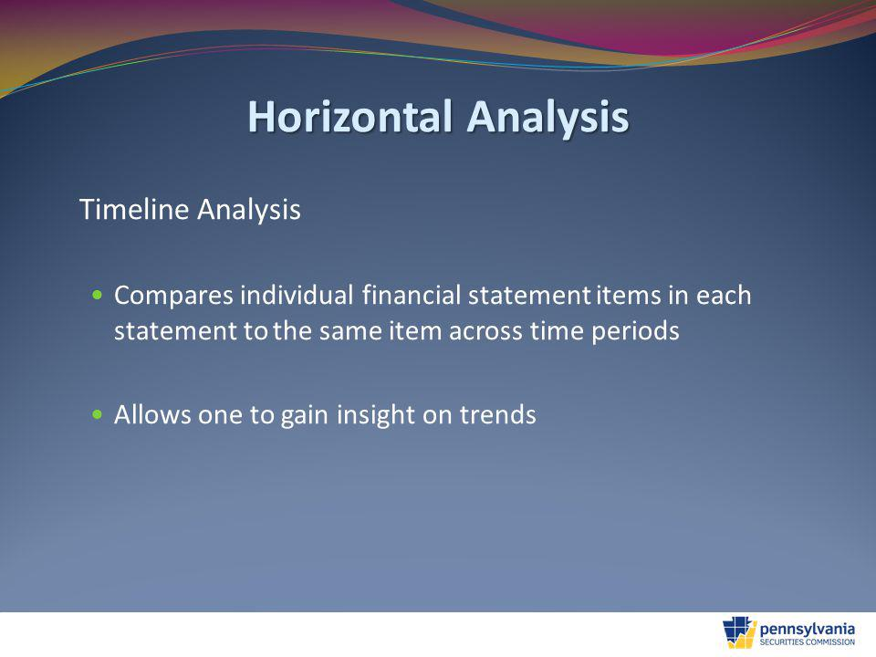 Horizontal Analysis Timeline Analysis Compares individual financial statement items in each statement to the same item across time periods Allows one to gain insight on trends