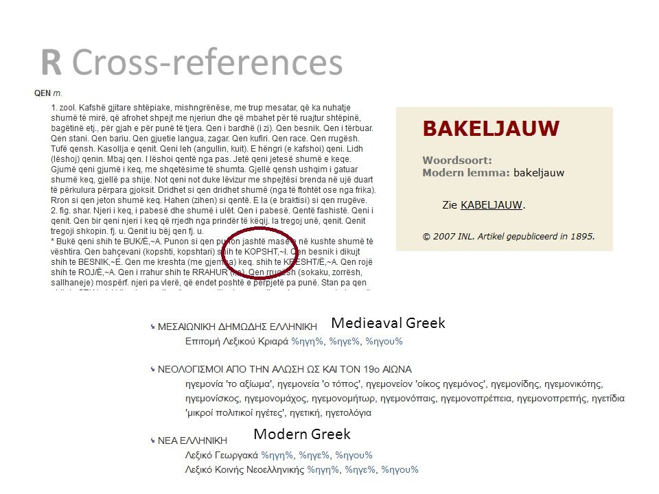 R Cross-references Medieaval Greek Modern Greek