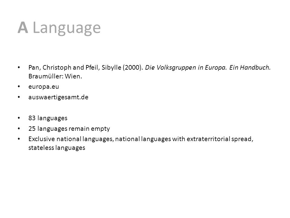 A Language Pan, Christoph and Pfeil, Sibylle (2000).