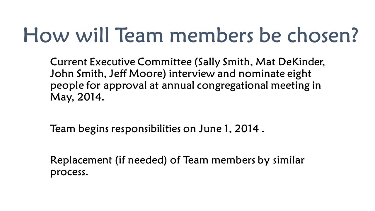 How will Team members be chosen? Current Executive Committee (Sally Smith, Mat DeKinder, John Smith, Jeff Moore) interview and nominate eight people f