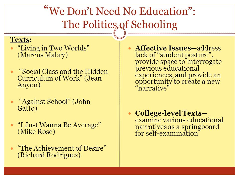 We Don't Need No Education : The Politics of Schooling Texts: Living in Two Worlds (Marcus Mabry) Social Class and the Hidden Curriculum of Work (Jean Anyon) Against School (John Gatto) I Just Wanna Be Average (Mike Rose) The Achievement of Desire (Richard Rodriguez) Affective Issues—address lack of student posture , provide space to interrogate previous educational experiences, and provide an opportunity to create a new narrative College-level Texts— examine various educational narratives as a springboard for self-examination