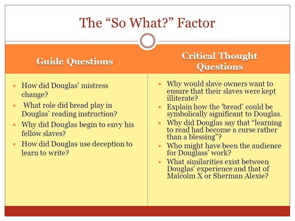Guide Questions Critical Thought Questions How did Douglas' mistress change.