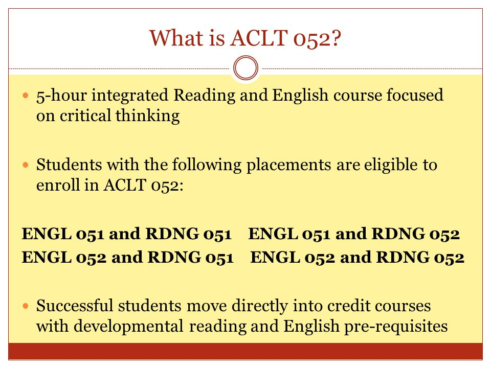What is ACLT 052.