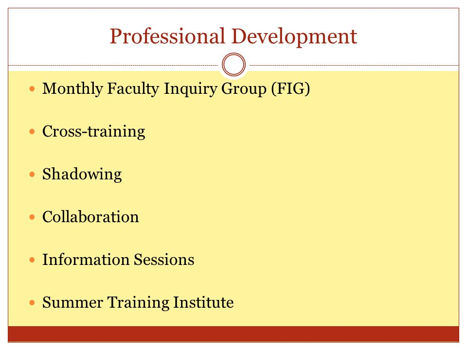 Professional Development Monthly Faculty Inquiry Group (FIG) Cross-training Shadowing Collaboration Information Sessions Summer Training Institute