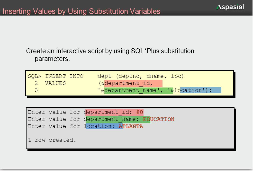 31 Inserting Values by Using Substitution Variables Create an interactive script by using SQL*Plus substitution parameters. SQL> INSERT INTOdept (dept