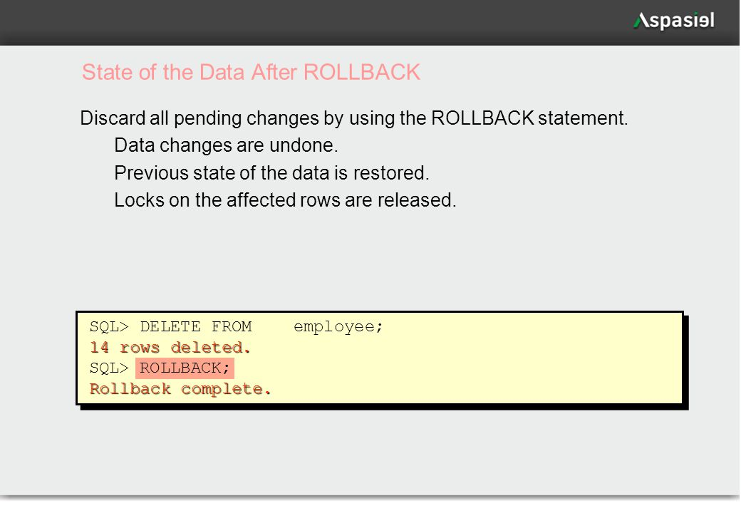 49 State of the Data After ROLLBACK Discard all pending changes by using the ROLLBACK statement.