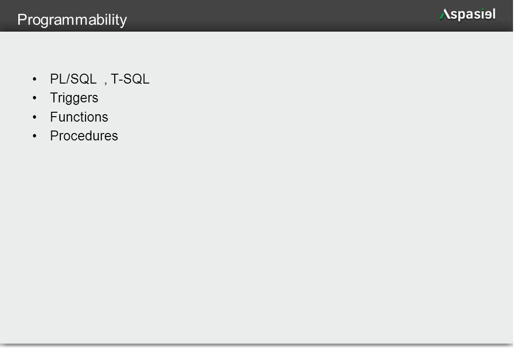 86 Programmability PL/SQL, T-SQL Triggers Functions Procedures