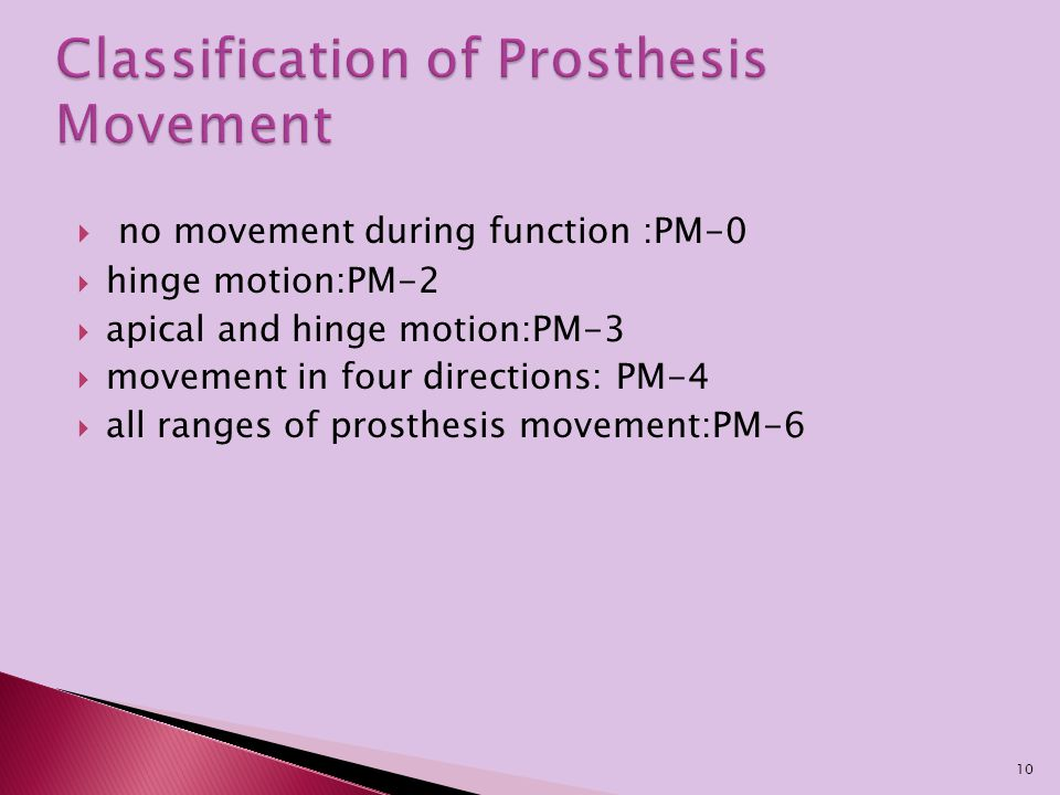  no movement during function :PM-0  hinge motion:PM-2  apical and hinge motion:PM-3  movement in four directions: PM-4  all ranges of prosthesis