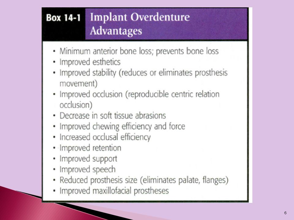 The bone under an overdenture may resorb as little as 0.6 mm vertically over 5 years, and long-term resorption may remain at less than 0.05 mm per year  maxillary overdenture often provides improved support for the lips and soft tissues of the face  An implant-supported overdenture may limit lateral movements and direct more longitudinal forces.(A mandibular denture may move 10 mm during function).