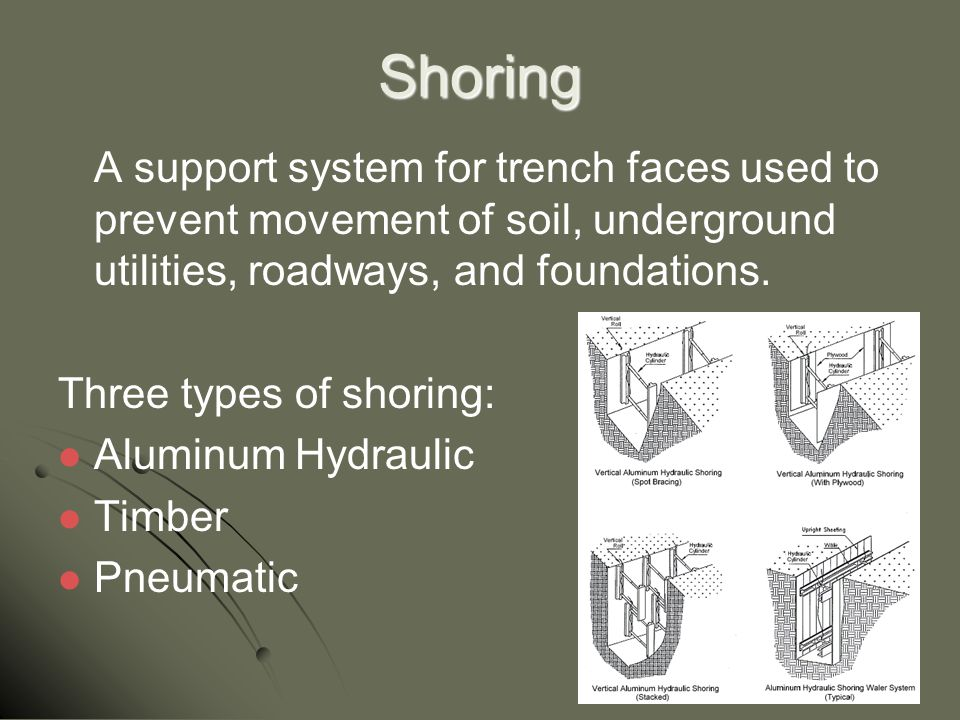 Shoring A support system for trench faces used to prevent movement of soil, underground utilities, roadways, and foundations. Three types of shoring: