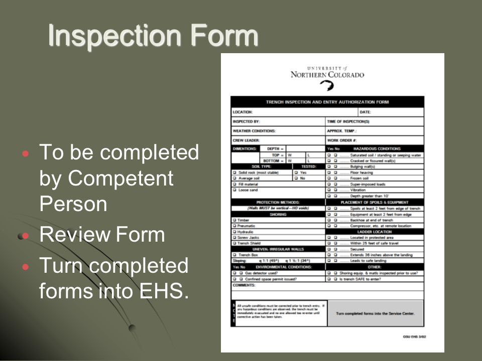 Inspection Form To be completed by Competent Person Review Form Turn completed forms into EHS.