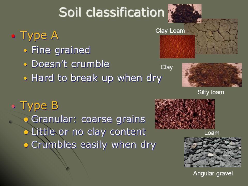 Soil classification Type A Type A Fine grained Fine grained Doesn't crumble Doesn't crumble Hard to break up when dry Hard to break up when dry Type B