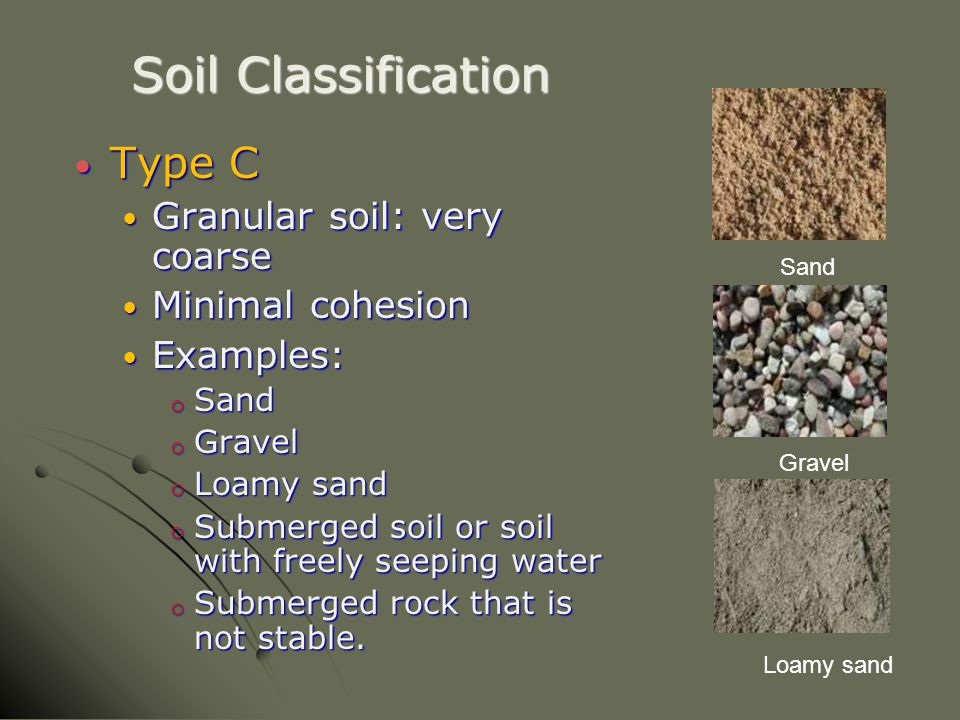 Soil Classification Type C Type C Granular soil: very coarse Granular soil: very coarse Minimal cohesion Minimal cohesion Examples: Examples: o Sand o