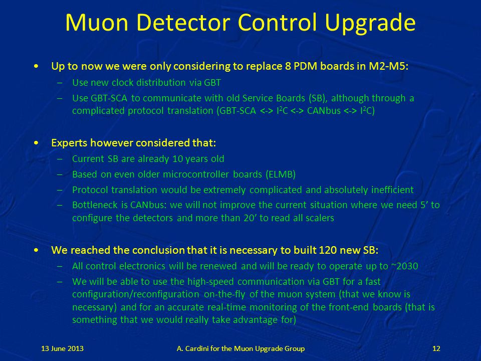Muon Detector Control Upgrade Up to now we were only considering to replace 8 PDM boards in M2-M5: –Use new clock distribution via GBT –Use GBT-SCA to
